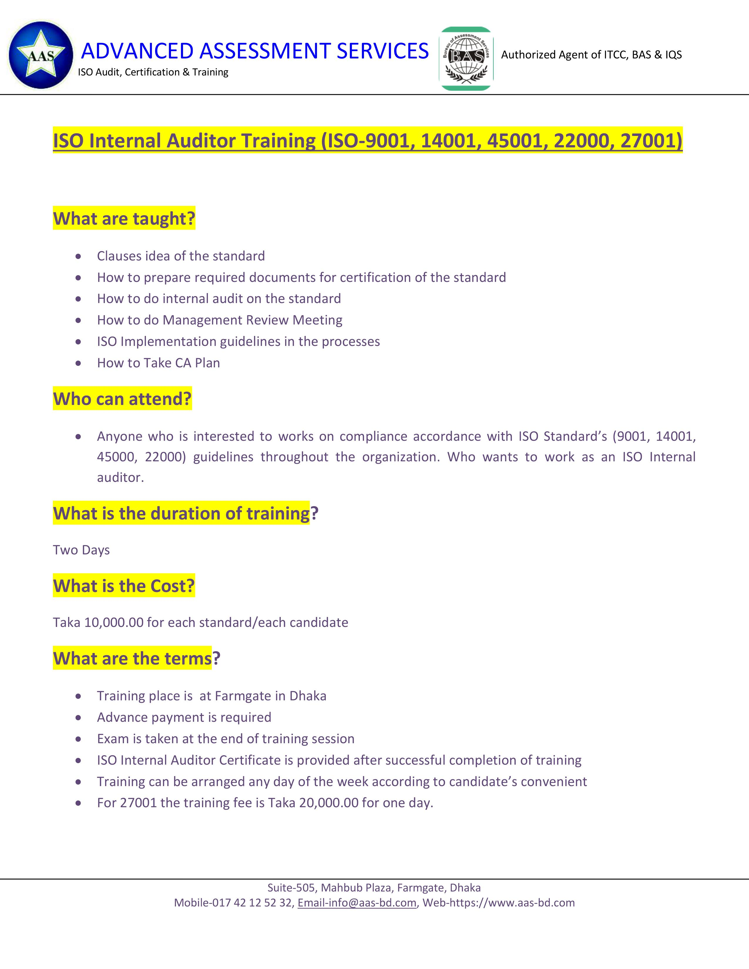 Iso Internal Auditors Training Advanced Assessment Services